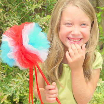 Magic tulle wand ready for the olympics red white and blue team spirit for team USA