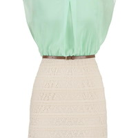 Lace And Chiffon 2Fer Dress - Mint Creme
