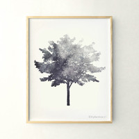 Tree print Black and white print, 11x14 living room decor wall print, Tree art Nature print, Gray art Gray wall decor Printable print poster