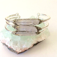 Opal Aura Bracelet, Raw Crystal Boho Cuff, Bohemian Stacking Bracelet, Gift for Her