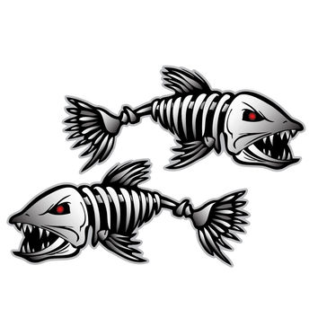 Car Styling Skeleton 2pcs Skeleton Fish Boat Decals Stickers Fishing Boat Graphics Water Sports Rowing Boat Car Window Accessory