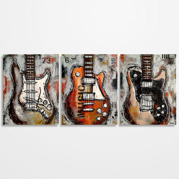 Guitar painting, Music Art, Gift for Musician, Les Paul, Guitar Art, Original Large Abstract Orange Gray Brown Guitar Painting on canvas