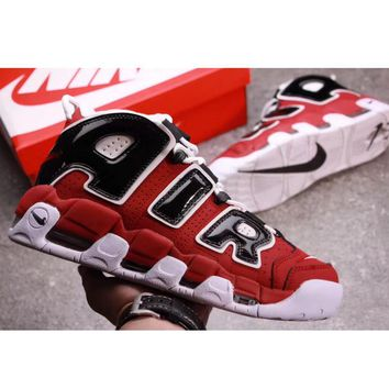 Supreme x Nike Air More Uptempo Big R Scottie Pippen White/Red Sport Basketball Shoes