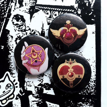 Sailor Moon Brooch Pinback Buttons 1""