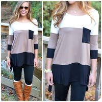 San Francisco Stand Out Black & Taupe Top