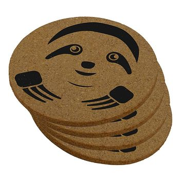 Cute Sloth Face Round Cork Coaster (Set of 4)