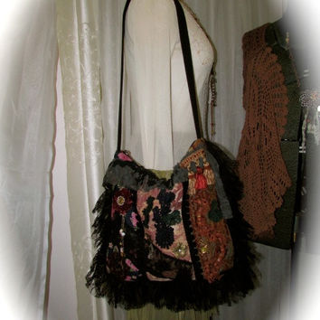 Handmade Boho Bag, jacquard chenille denim fabrics, texture details embellished, bohemian bag fabric bag, large shoulder bag