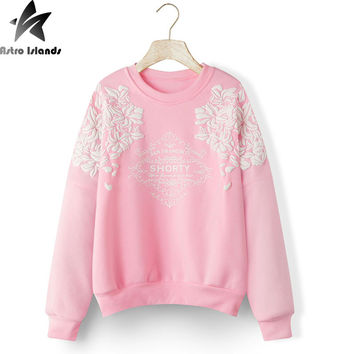Print Graphic Floral Sweatshirt Sudaderas Mujer 2016 Harajuku Hoodies Long Sleeve Loose Hoody Warm Women Casual Clothes J495