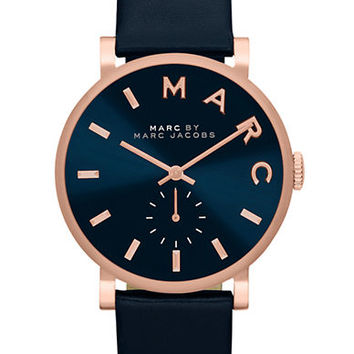 Marc By Marc Jacobs Ladies Baker Rose Gold Tone and Navy Watch
