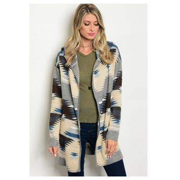 Cozy Me, Hooded Tribal Print Cardigan, Jacket
