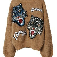 Camel Tiger Sequin Knit Sweater