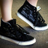 Misbehave Punk-4 Black Lace Panel Sneakers - Shoes 4 U Las Vegas