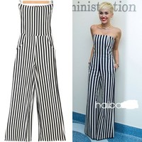 Fashion Sexy Striped Strapless Jumpsuit Trousers Maxi Pants Rompers | Twizzls
