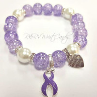 Domestic Violence Awareness Bracelet, Beaded Bracelet, Purple Ribbon, Stretchy, Support, Custom, Handmade, Beaded Jewelry