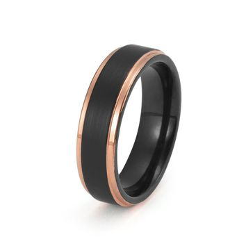 Black Tungsten Ring Rose Gold Wedding Band Ring Brushed Tungsten Carbide 6mm 18K Tungsten Ring Man Wedding Band Stepped Edges Male Women Anniversary His Hers Matching