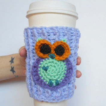 Owl Coffee Cozy in Periwinkle, ready to ship.