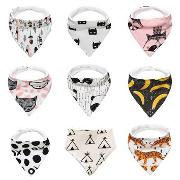 Cartoon Animal Print Baby Bibs 100% Cotton Triangle Head Scarf Boy Kerchief Girl Babador Bandana Dribble Bib