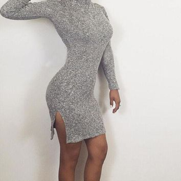 PEAPNH HIGH-NECKED LONG SLEEVED DRESS