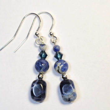 Sodalite earrings, silver earrings, blue earrings, blue and white jewelry, Montana made jewelry, blue dangle earrings, navy blue, dark blue