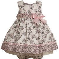 Black/White Pink Butterfly Floral Toile Print Dress BWR24, Bonnie Jean Girl Dress