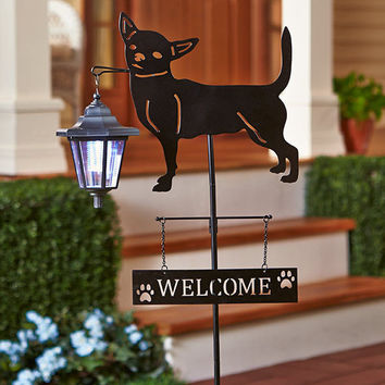 Solar Dog Breed Lantern Stake -Chihuahua Welcome Sign Yard Lawn Metal Plastic