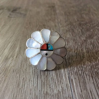 Vintage Native American Flower headdress ring, mother of pearl, turquoise, coral in 925 sterling silver, US size 8 (ring sizing available)