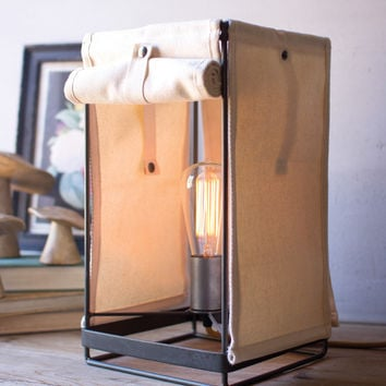 Square Table Lamp with Canvas Shade