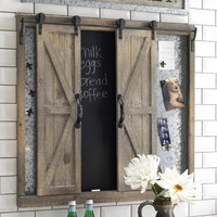 Sliding Barn Door Chalkboard and Metal Pin Board 34-in