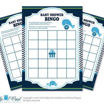 Navy  Whale Bingo Game Printable Card for Baby Boy Shower DIY grey, Navy  Chevron - ONLY digital file - oz8bs3