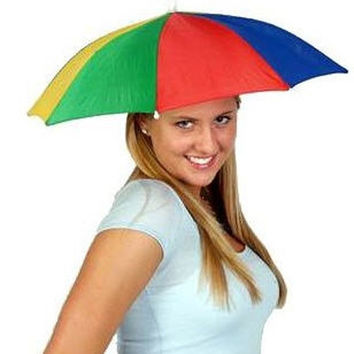 Rainbow Foldable MultiColor Umbrella Hat Cap Beach Sun Rain Fishing Camping = 5617799489