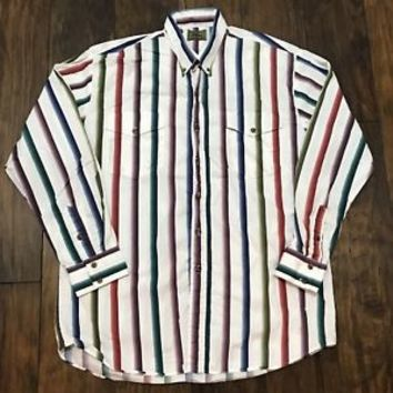 Vintage Roper Western Striped Button Down Shirt Made in USA Mens XL 17 1/2 - 35