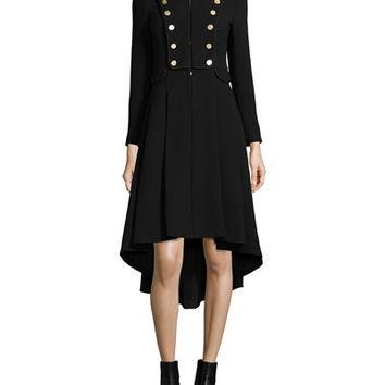 Alice + Olivia Rossi Long-Sleeve Military-Style Coat, Black