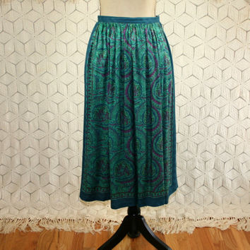 90s Bohemian Print Skirt High Waist Midi Full Skirt Teal Purple Boho Clothing Womens Skirt with Pockets Small Medium Vintage Clothing