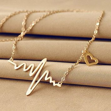 Women ECG Heart Necklace Clavicle Choker Pendant