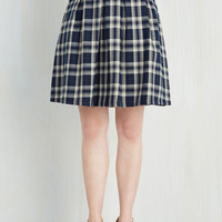Vintage Inspired, Scholastic Mid-length Full Sweet and Tartan Skirt in Ivory