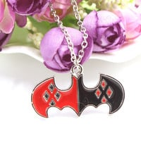 Free Delivery Superhero Batman Harley Quinn Bat Symbol Pendant Silver Plated Necklace Fashion Gift Movie Jewelry