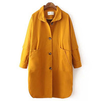 Yellow Long-Sleeve Button Pocket Midi Coat