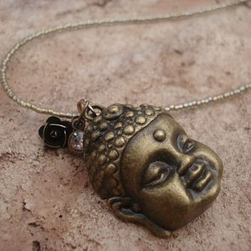 Brass Buddha Necklace with Crystal Pewter Seed Beads and Snap Brass Clasp, For Her