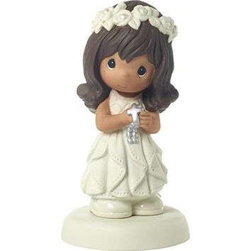 """""""May His Light Shine In Your Heart Today And Always"""" Bisque Porcelain Figurine, Girl, Brunette"""