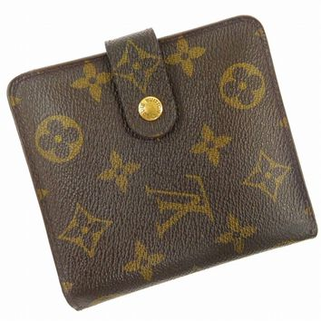 Authentic LOUIS VUITTON Compact Zip Monogram Bi-fold Wallet Brown #X15275