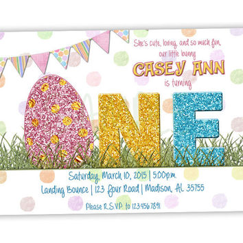 Easter 1st Birthday Invitation Girl - First Birthday Party Invites One Spring - Glitter Girls - Easter Egg Invitation - Country Vintage