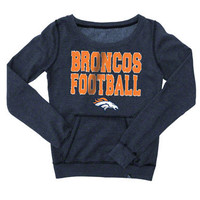 Denver Broncos Women's Navy Garment Wash Scoop Neck Fleece Pullover Crew