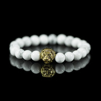 Gold Plated Lion Head White Marble Bracelet