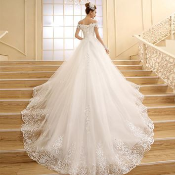 Elegant Off Shoulder Beaded Sequins Ball Gown Lace Wedding Bridal Dresses Corset Bridesmaid Dress robe mariage boheme P6204