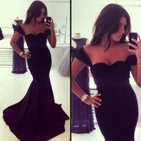 Long Evening Dress New Arrival Formal Dresses Sweetheart Sleeveless Black Mermaid Evening Dress robe de soiree 2014 = 1931582020