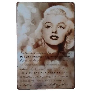 Sexy Marilyn Monroe Bar Club Cafe Home Plate Wall Decor Print Retro Metal Tin Sign Poster Plaquer Art Vintage Style