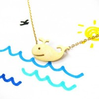 Cute Whale Animal Necklace - In Light Gold | smileswithlove - Jewelry on ArtFire