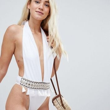 PrettyLittleThing Plunge Embroidered Tassle Swimsuit at asos.com