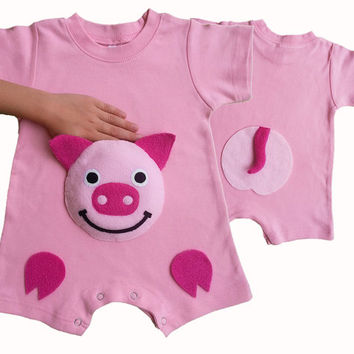 pig romper, farm animals clothes, baby romper, farm birthday party, farm outfit, baby girl romper, baby Onesuit