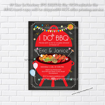 I Do BBQ Invitations, Wedding Shower Invites,  Couples Shower BBQ, Wedding Shower BBQ Chalkboard, Engagement Party, Bridal bbq  - card 591
